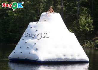 White Inflatable Climbing Wall Inflatable Water Ice Mountain Customized Size